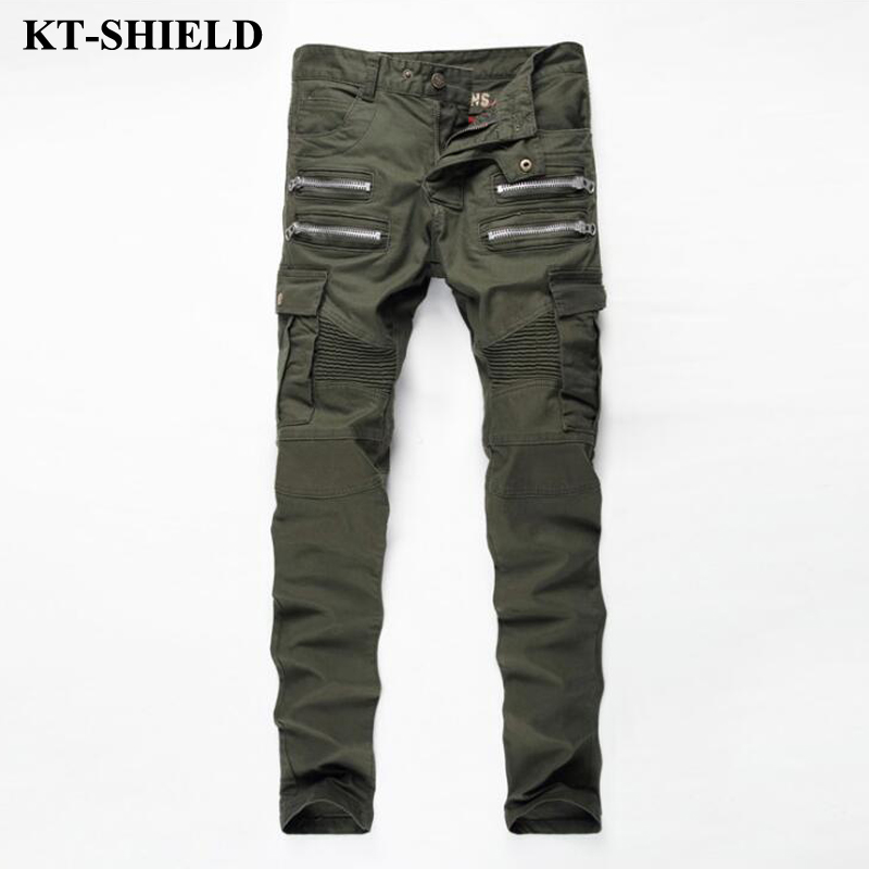 2017 Mens Skinny Biker Jeans Army Green Brand Fashion Denim Pants Pockets Cargo Pant Men Slim