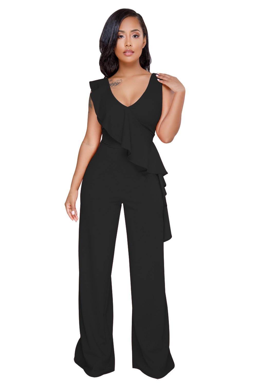 66b5a9aab5b Dear Lover Black Ruffle Rompers Office Work Wear Asymmetric Trim Sleeveless  Wide Leg Jumpsuits Women Long Pants Casual LC64417