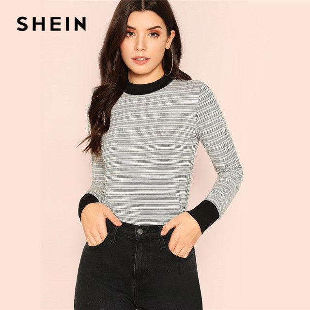 0ff072459f SHEIN Multicolor Mock Round Neck Striped Casual Tee Women Stand Collar Long  Sleeve Slim Fit T-shirt Ladies Spring Stretchy Tops