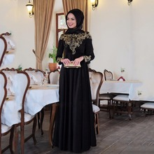 Formal Black Long Sleeves Hijab Evening Dresses Gold Beads Floor Length Saudi Arabia Prom Dresses Vestido De Festa