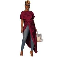 New Streetwear Women Dresses Solid Draped Irregular Short Sleeve Tee Shirts Blouses Dresses drop shoulder draped front tee