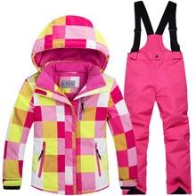0ee89d36c88 Para-30 grados caliente abrigo deportivo traje de esquí impermeable a prueba  de viento bebé Chaquetas niños ropa establece ropa .