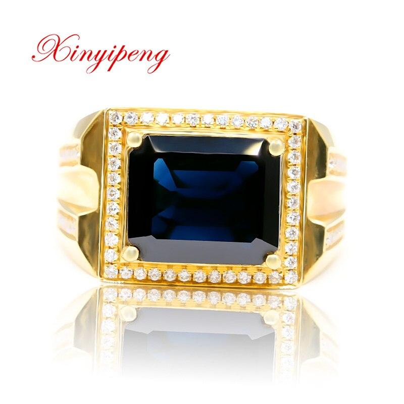 Xin yi peng 18 К Желтое золото инкрустация 5,8 карат натуральный сапфир кольцо, для мужчин Большой кольцо, алмаз, классическая атмосфера