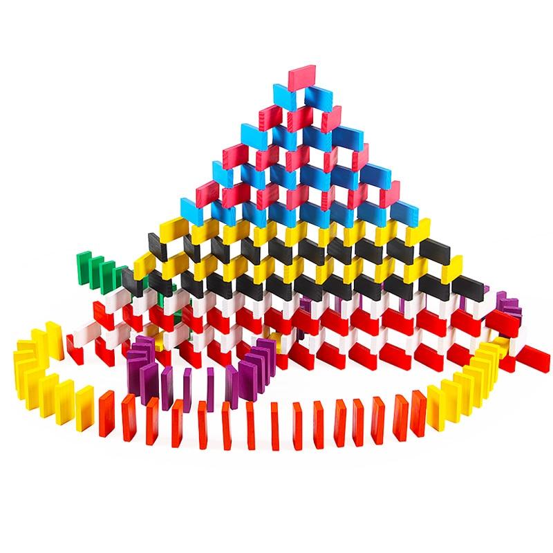 100 шт игрушки домино и хобби(строительные и строительные игрушки развивающие Цветные Разноцветные - Цвет: random colors