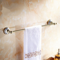 Polish Brass Single Towel Bar Chrome Towel Rail Ceramic Crystal Towel Bar 60cm Towel Rack Wall
