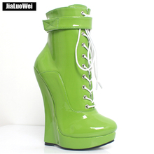 Jialuowei Ankle Boots 7 Super High Wedge Heel Platform Lace-up Sexy Round toe PU Leather Clubwear Party Fetish Shoes