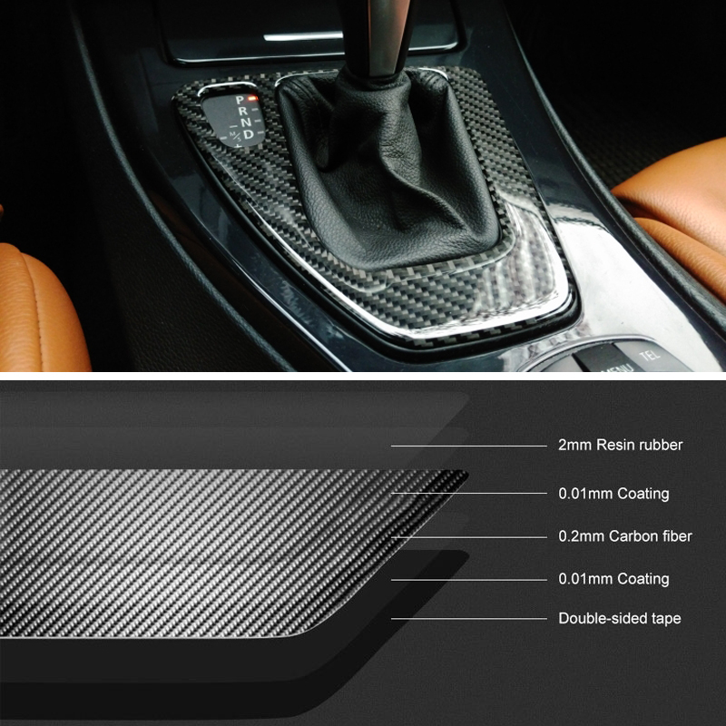 Image 3 - For bmw e90 e92 e93 Interior Trim Carbon Fiber Gear Shift Control Panel Cover Sticker LHD Car styling 3 series accessories-in Car Stickers from Automobiles & Motorcycles