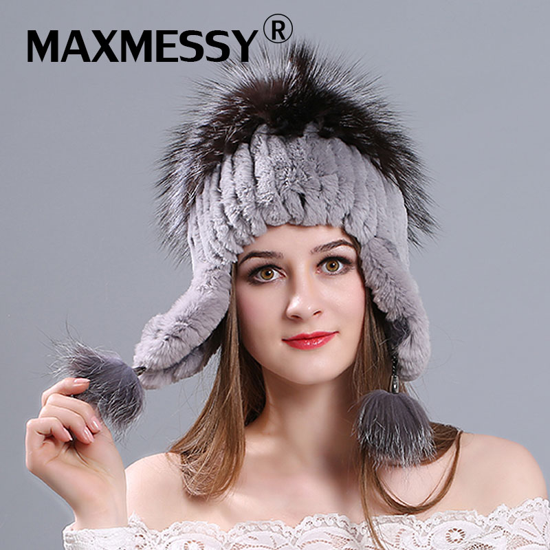 Women Winter Rex Rabbit Fur Hat Ear Protector Caps Knitted Bomer Hat Fashion Causal Fur Headgear Good Quality Russian Fur Cap