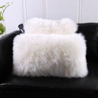 Natural Australian Sheepskin Cover fur Pillow back cushion with core 30*50cm 40*40cm square decoration lamb sheep fur pillows
