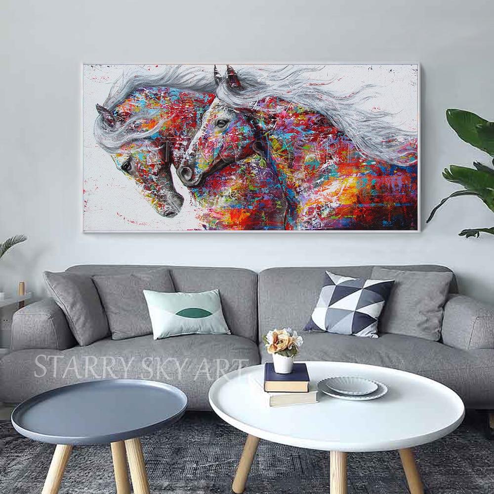 Fashion Design handgeschilderde 2 Paarden Olieverfschilderij Rijke Kleuren Abstract Dier Paard Olieverf voor Muur decoratie - 3