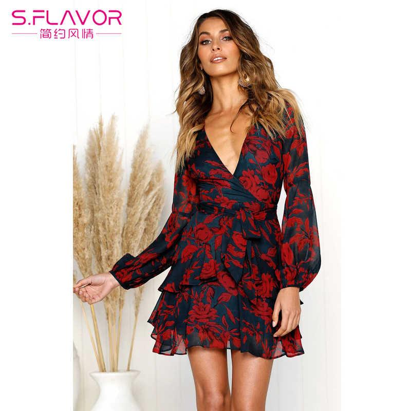 S. FLAVOR сексуальное летнее женское шифоновое платье прозрачное с длинным рукавом с цветочным принтом платье с v-образным вырезом Короткое мини vestido женское с поясом