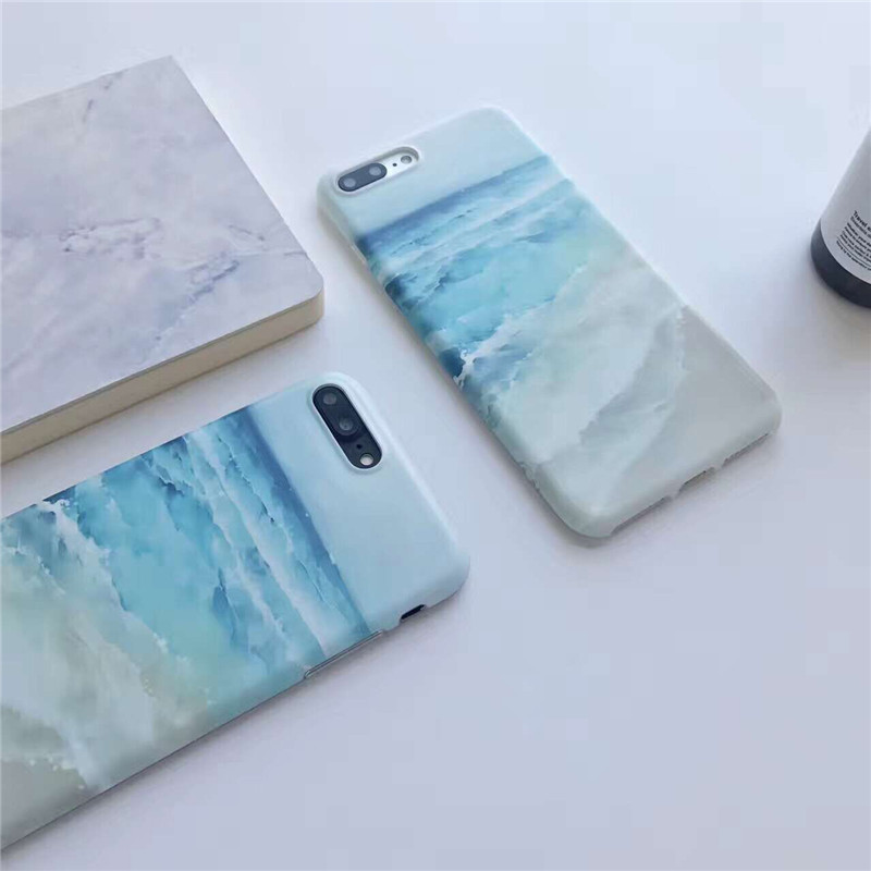 Luxury Silicone Case For iPhone7 Soft Painting Surf Beach Sea Wave Back Cover For iPhone7plus Protective Shell Coque For iPhone7
