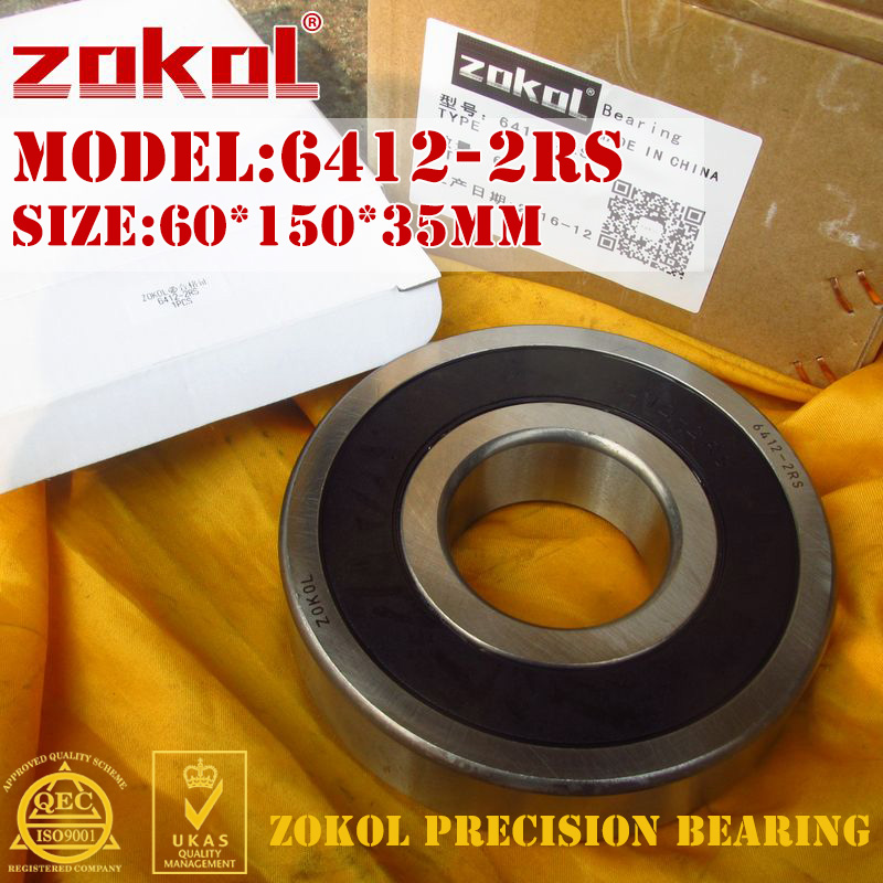 ZOKOL 6412-2RS bearing 6412 2RS 180412 Deep Groove ball bearing 60*150*35mm 100pcs 6700 2rs 6700 6700rs 6700 2rz chrome steel bearing gcr15 deep groove ball bearing 10x15x4mm