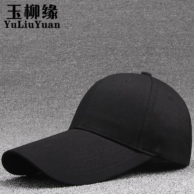Popular Long Bill All Black Mens Caps Cotton Solid Peak Curved Snapback  Baseball Cap Hats Best 06af5126a3a