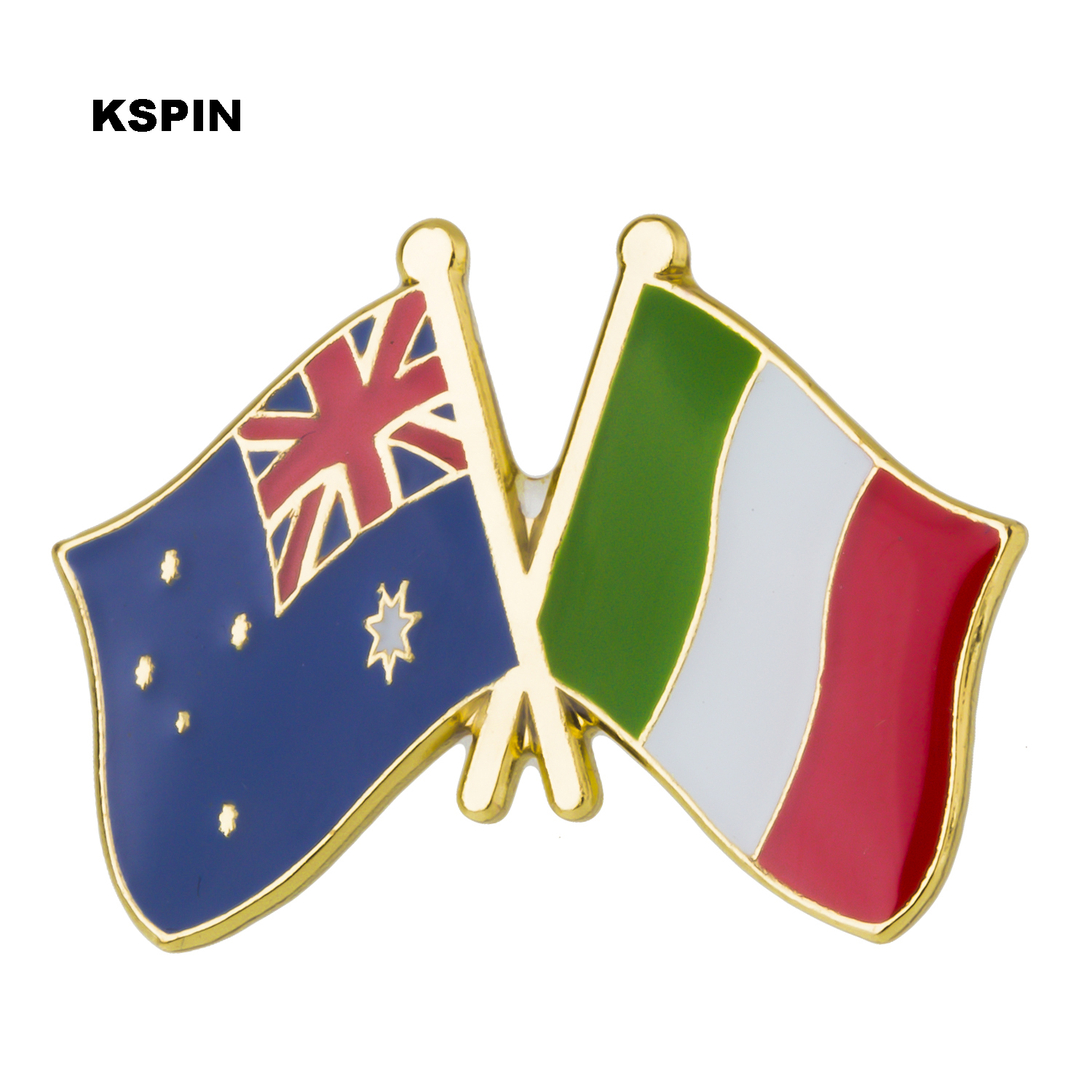 Australia Italy Friendship Flag Label Pin Metal Badge Badges Icon Bag Decoration Buttons Brooch For Clothes 1pc Home & Garden Apparel Sewing & Fabric