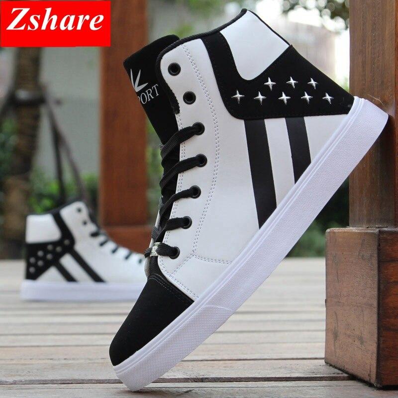 Fashion Men Casual Shoes Men Sneakers Brand Comfortable Lace Up Hip-hop High Top Mens Shoes Plus Size 39-45 Zapatillas Hombre