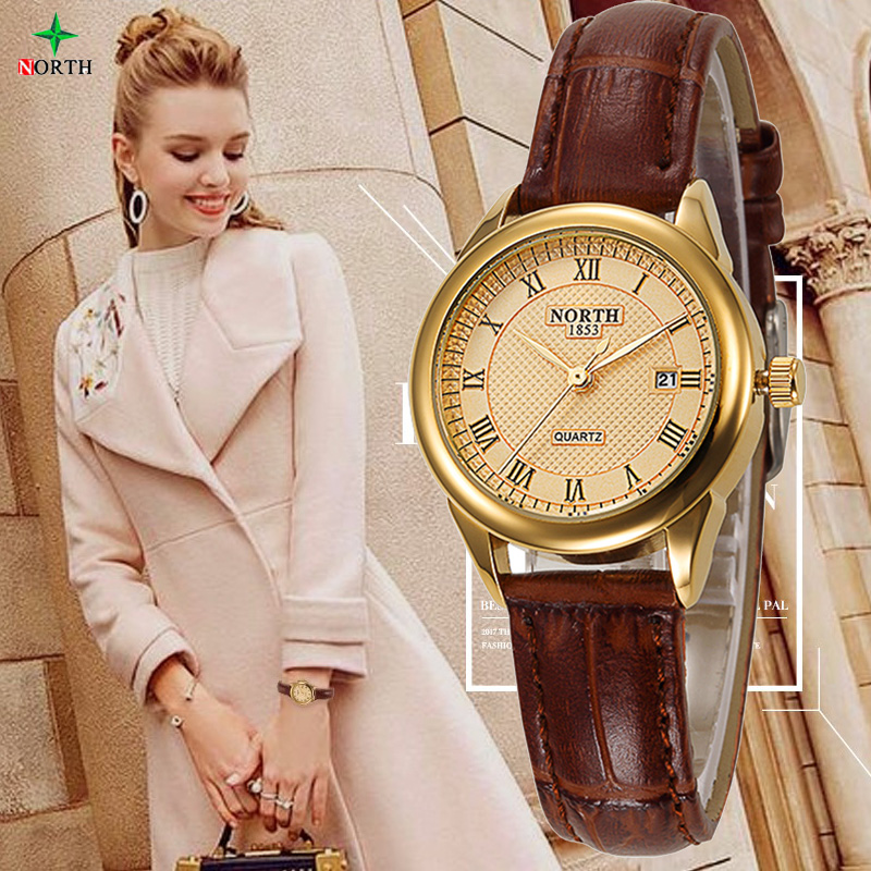 NEW Women Fashion Casual Watch 30M Waterproof Luxury Brand Quartz Female Watches Ladies NORTH Gold Dress Wristwatch Nontre femme weiqin new 100% ceramic watches women clock dress wristwatch lady quartz watch waterproof diamond gold watches luxury brand