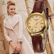 NUEVAS mujeres reloj casual de la manera los 30M impermeabilizan la marca de lujo de los relojes femeninos del cuarzo Ladies NORTH Gold Dress reloj Nontre femme