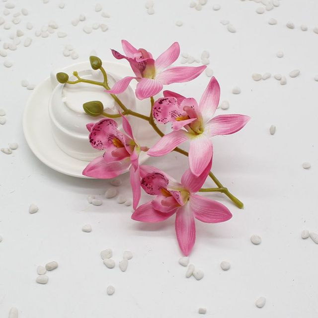 5 Pcs Lot Silk Artificial Orchid Bouquet For Home Party Wedding