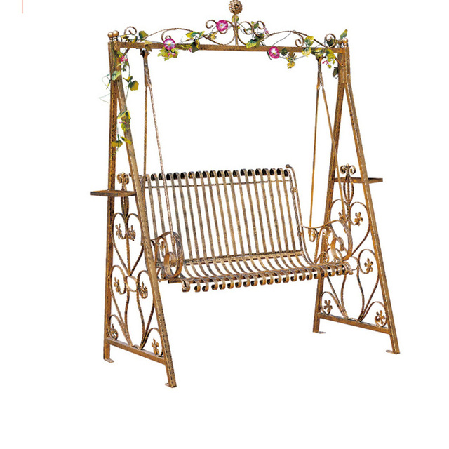 Wrought Iron Double Swing Outdoor Rocking Chairs Hanging Baskets Park Indoor Balcony Patio Lounge Chair