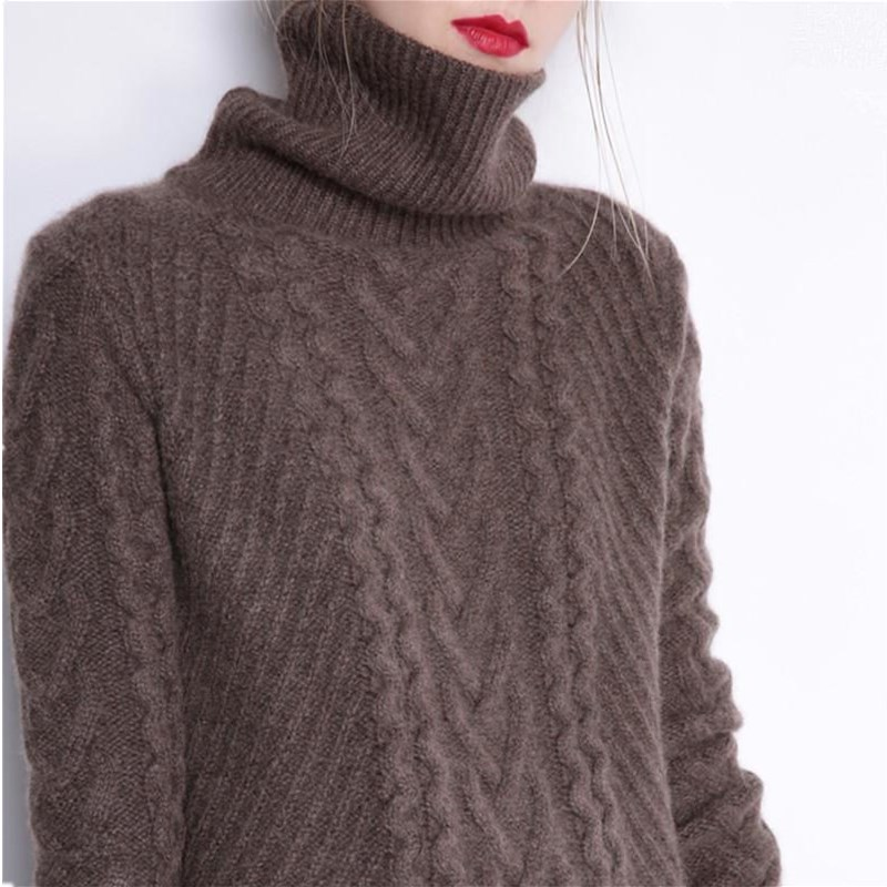 GejasAinyu sweaters fashion 2018 women turtleneck sweater Long sweater dress Loose knitting Pullover womens sweaters winter tops