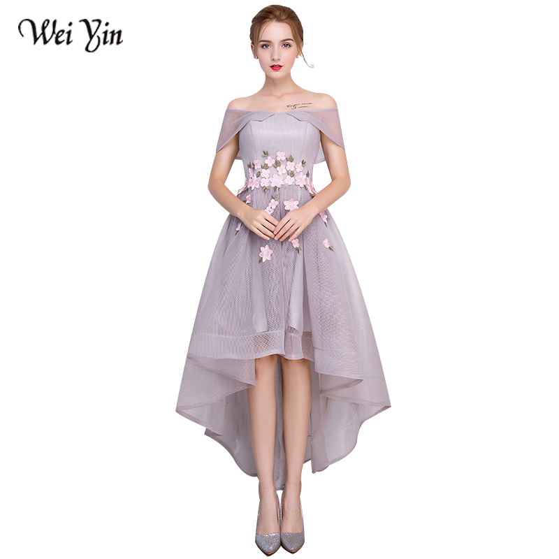 WeiYin Elegant Evening Dress 2018 New Black Appliques Long Evening Dresses Boat Neck Fashion Party Robe De Soiree