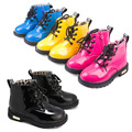 Free shipping 2015 Spring Fashion children martin boots bright japanned motorcycle boys girls snow PU sneakers Kids casual shoes