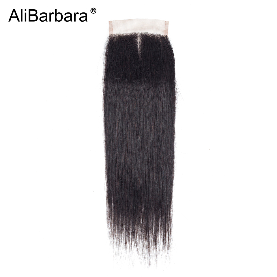 Alibarbara Hair 4x4 Lace Closure Brazilian Straight Remy Human Hair Swiss Closure Free Middle Three Part
