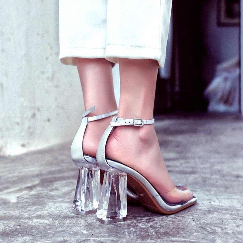 Donna-in High Heels Sandals Women Transparent Clear Heels Peep Toe Genuine Leather Sandals Thick Heels Jelly Shoes Woman Black