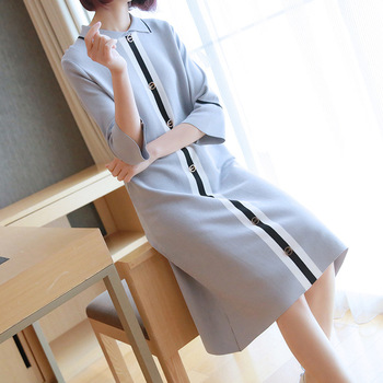 Temperament doll collar dress 2019 spring and summer new women's Korean version of the long section loose sleeves knit