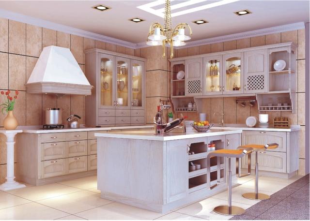 2017 cocina prefabricada armario madera maciza cocina modular ...