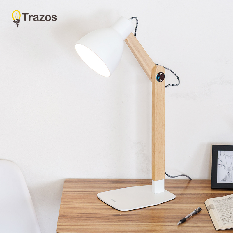 TRAZOS Nordic Wood Table lamp with E27 Dimmer Switch Fabric Lampshade lamparas de mesa Desk Light Deco Luminaria For Living Room trazos modern table lamp with fabric lampshade led lamparas de mesa metal desk light e27 hotel lighting deco luminaria de mesa