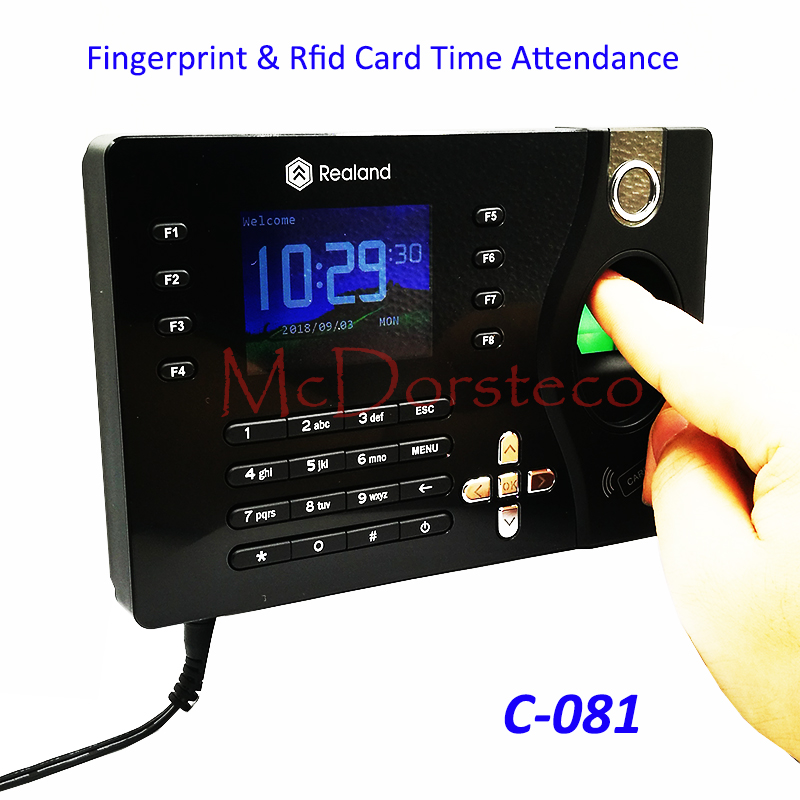 A-C081 TCP/IP Biometric Fingerprint Time Clock Recorder Attendance Employee Electronic Punch Reader Machine Realand