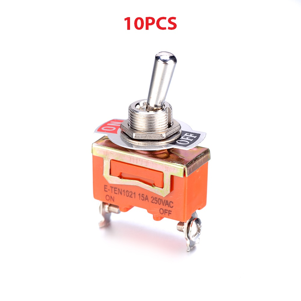 53x29mm Wholesale 10PCS A Lot E-TEN1021 ON-OFF 250V 15A Toggle Switch with 2 Pins 12mm Installation hole mini Toggle Switch