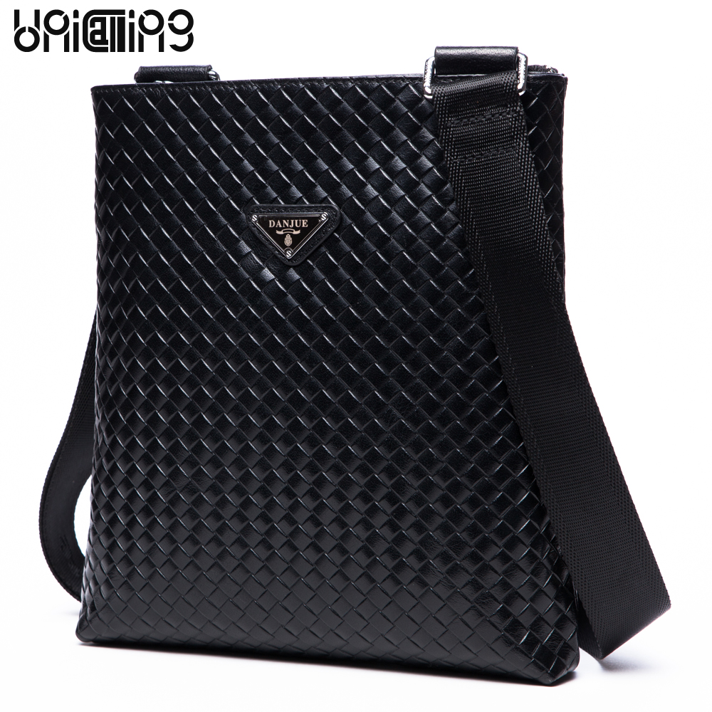UniCalling brand premium men genuine leather bag hand-made fashion Knitting real cowhide leather casual business messenger bag premium top layer cowhide genuine leather men messenger bag unicalling brand fashion style leather men bags business casual bag