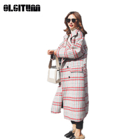 New S L Autumn/Winter Red Plaid Long Slim Temperament Woolen Coat with Belt Pocket Warm and Fashion 2018 Thicken Outwear Casaco