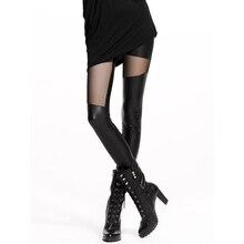 2019 Spring and Autumn Leggings Sexy Imitation Leather Leggings Women Net yarn Splicing Leggings Slim leggings Tide Leather Pant