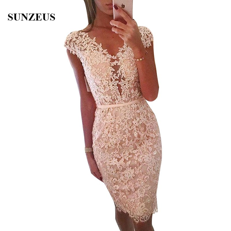 Sheath Cap Sleeve V-neck Appliques   Bridesmaid     Dresses   Beaded Lace Women Party Gowns Knee Length Prom Wear