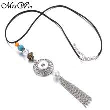 Snap Button Long Tassel  Necklace
