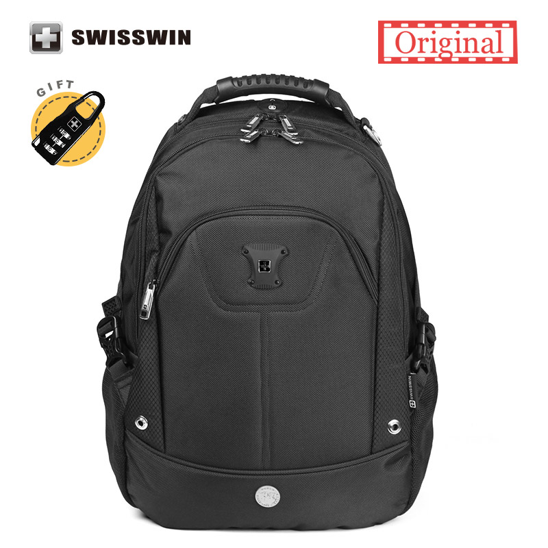 Swisswin Laptop Backpack Men Swiss Waterproof Black Backpack Male Bagpack Orthopedic Backpack Student School Bag Mochila
