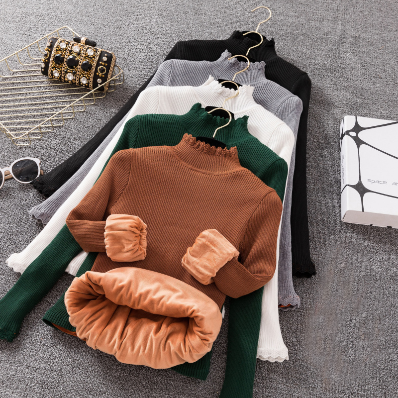 Autumn Winter Thick Velvet Sweater Women Long Sleeve Turtleneck Knitted Pullovers Slim Knitwear Female Sweaters Jumper Tops 1671