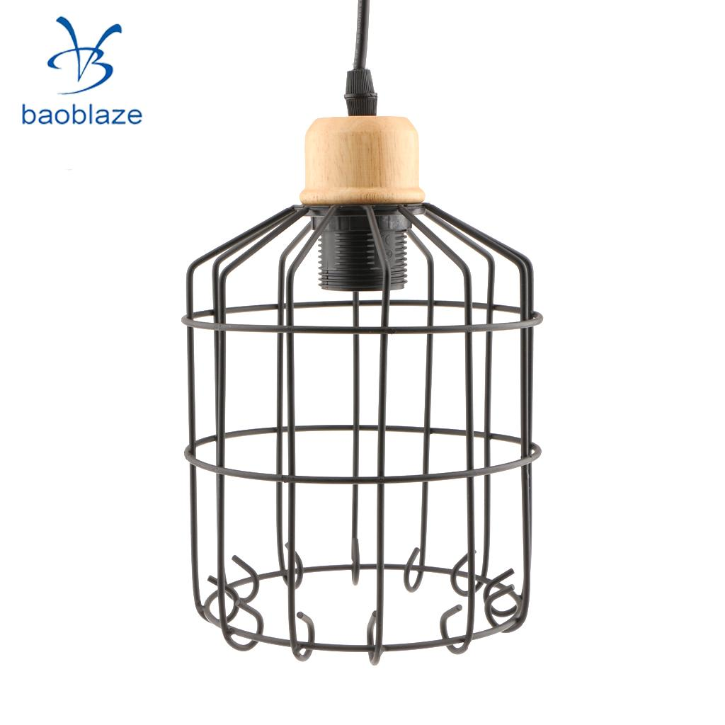 Vintage Black Iron Bird Cage Ceiling Pendant Lampshade Light Shade Frame E27