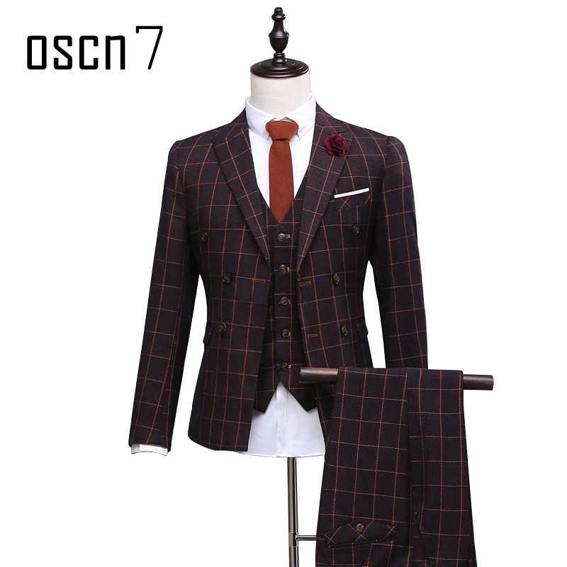OSCN7 коричневый двубортный костюм мужской индивидуальный клетчатый костюм по фигуре Свадебный костюм жениха Мужские костюмы Homme 3 шт Terno