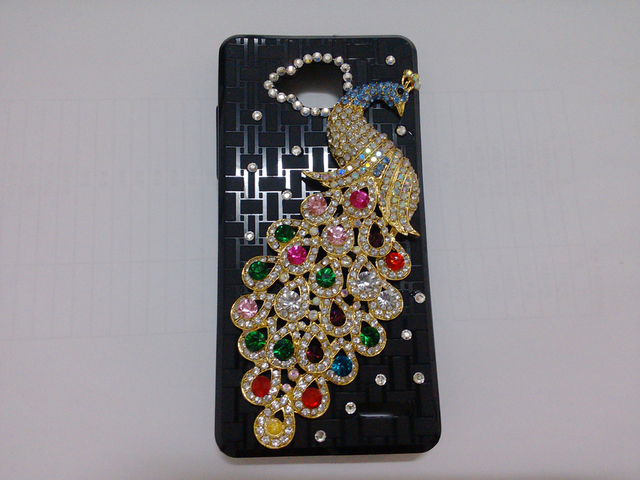 1pc Bulk original Novelty Luxury Peacock and Five leaf grass Diamond Cover For jiayu g3 Crystal Peafowl Bling Case+Free Shipping