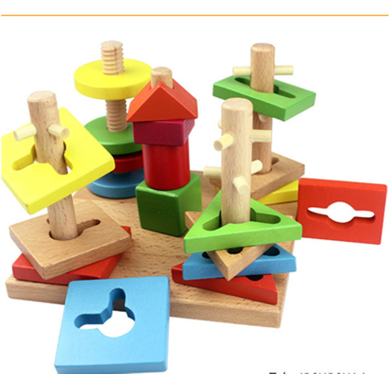 A Set Kids Wooden Educational Toy 5 Pillar Matching Color Shape Wooden Block Juguetes Baby Early Learning Toys kid s soft montessori wooden mini number house number shape matching blocks toy set early educational gift for kids
