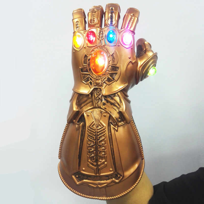 HA CONDOTTO LA Luce Thanos Infinity Gauntlet Cosplay LED Guanti IN PVC Superhero Thanos Guanti di Halloween Oggetti di Scena
