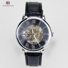 Forsining 3D Literal Design Roman Number Black Dial Montre Homme Watches Men Luxury Brand Mechanical Skeleton Watch Male Clock