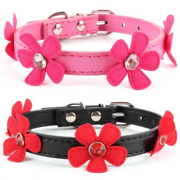 Dog Collar Factory Price! Adjustable Flower Leads Neck Strap Pet Small Dog Cat PU Leather Collar Buckle XS S M L