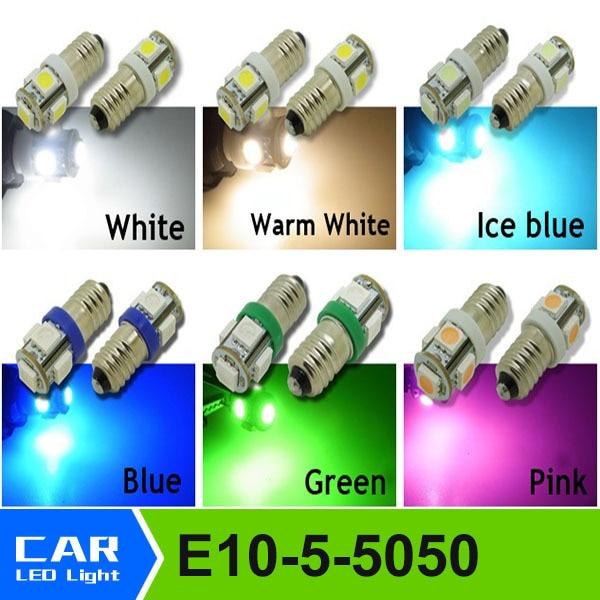 Е10 5-SMD 5050 светодиодные Белый/теплый/синий/зеленый/розовый/мороженое синева света МЭС миниатюрный винт лампы для Лионель DC 12 В