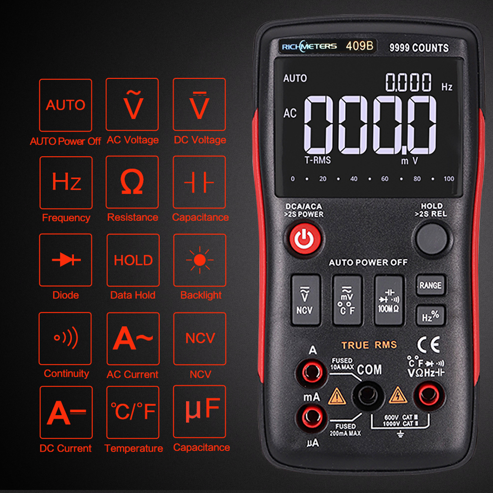 RICHMETERS RM409B Multímetro Digital 9999 Counts-True RMS Gráfico Temperatura Sensor De AC/DC Amperímetro Tensão Ohm Capacitância Tester